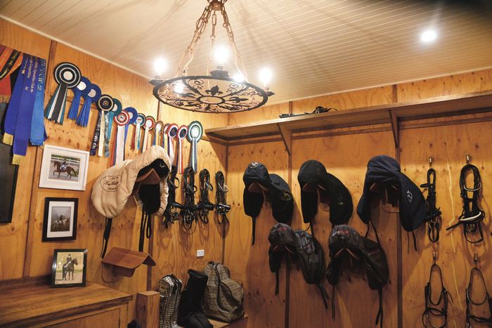 """Mark's tack room. """"My Stable Manager, Cassie Harrison does a fabulous job,"""" says Mark. """"She is the wonder-groom and has been with me for eight years. <br> She keeps everything neat and in order."""""""