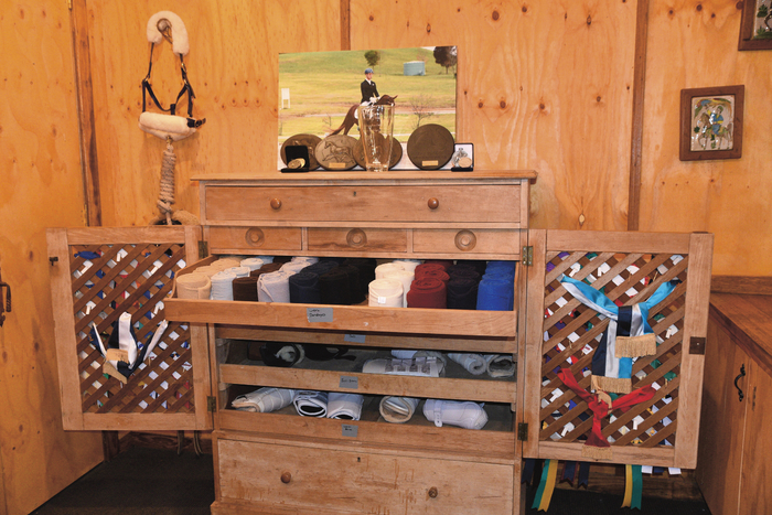 This looks more like a high-end tack shop than a tack room.