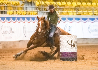 Brianna Learmonth won the open barrel race on Peptos Smokin Morn.