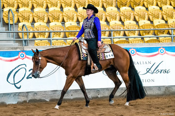 My Certain Valentine, owned by Susan Gittus, in the Western Pleasure Senior Horse.
