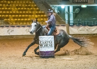 Skyla Wicks on Waylons Hollywood Cinch, won the Junior Barrel Race.