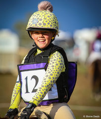 After having a tumble at her first attempt at Naracoorte in 2020 - Ellie Bowman, riding 'Fourwinds Biscuit', was all smiles after finishing on her dressage score at this year event in the EVA65.