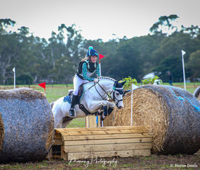 Keely Hutchinson and her little WBx 'Mouse Detective' clearing the last fence to take the win in the Tyre Power Naracoorte EVA65.