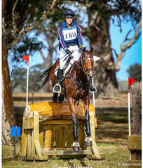 Steph Hann and her OTT TB 'True Celebre' clear through the water complex on their way to 3rd place in the IRT CCI4* class.