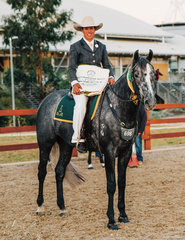 Carly Domrow & Sinders Sovereign claimed Reserve Champion Hack 4yo.