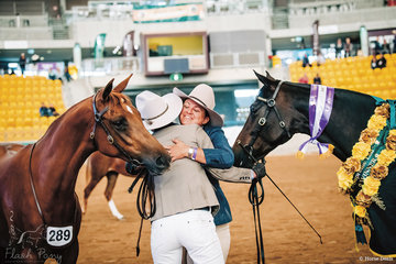 Jacqui Langfield congratulates Sarah Bennett on taking out the Supreme Led Horse of the Show with her mare Topshelf Envy.