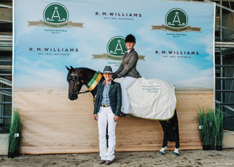 Reserve Champion Hack Gelding 5yo & Over was Glencoe Last Fling & Teagan Todd pictured with Georgia Hope.
