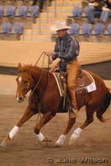 Mick Connolly from Clifton in Queensland rode Adam Shean's, Proud To Be A Playboy to tenth place in the 1st Go-Round of the Open Futurity.