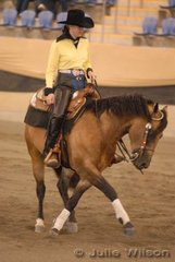 Natasha Backhouse rode J and D Keogh's, Barque Easta Sonita in the Open Futurity for a 0 score.