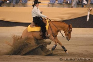 Annette Miller from Broadford in Victoria rode Gary Browne's, Bell Two Bars to seventh place in the Intermediate Open Futurity Ist Go Round and 12th place in the Open Futurity, scoring 138.