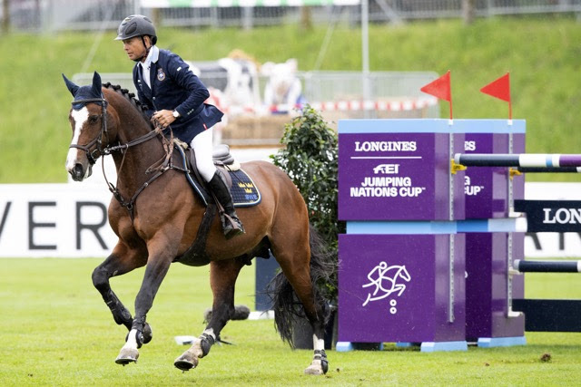 Rolf-Goran Bengtsson and Ermindo W clinched victory for Team Sweden at the first leg of the Longines FEI Jumping Nations Cup™ 2021 series at St Gallen, Switzerland today. (FEI/Richard Juillart)