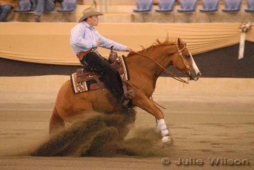 Winning both the Intermediate Open and Open Futurity Ist Go Rounds, Jake Symonds riding his own Starbar Proud Little Okie scoring 146.