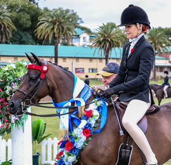 The Sally George Memorial Large Pony over 12.2 & ne 14hh Championship was awarded to Merivale Park Remembrance owned and ridden by Jacinda Smith.