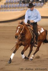John Wicks from Biddaddaba in Quensland riding the exhibit of Astonlee Homestead, Playgirls Whiz to fifth place in the 1st Go Round of the Open Futurity scoring 141.