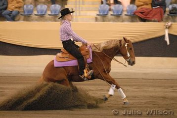 Leonie Huber from Whittlesea in Victoria, rode OP Who Whiz It for second place in the Intermediate Open Futurity Ist Go Round and third place in the Open Futurity scoring 141.5.