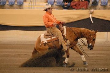 Greg Smith from Chiltern in victoria, rode SR Yulgilbar Rambo Roy in the Open Futurity 1st Go-Round to score 132.5.