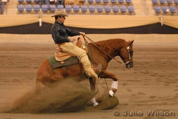 Warren Backhouse rode S and F Jone's, A Lil Pep to equal third place in the Open Futurity 1st Go-Round scoring 141.5.