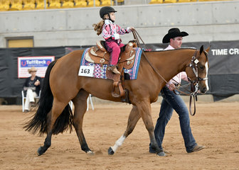 Ivy May Imes riding KLI Temperence, with Dylan Hughes in the Tiny Tots Led Trail.