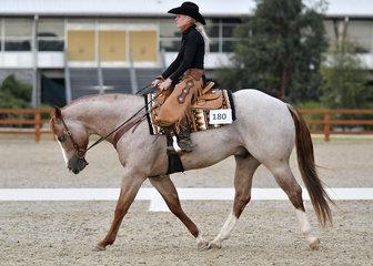 Michelle Garratt riding GPS One Awesome Oak in Western Dressage.