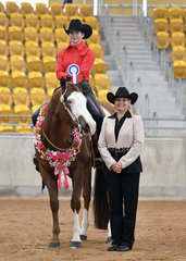 Sarah Feeney riding Hypnotize, with Judge Debra Watson.
