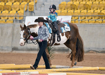 Zarlei Mears riding Rosies Magic Alaround with Lara McEachern.  in the Tiny Tots Features.