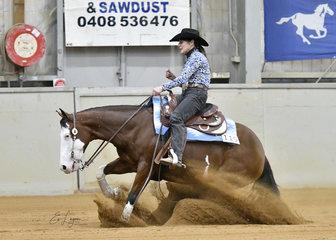 Donna Sadler riding JA Katies Gotta Gun