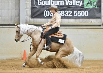 Jacqui Dugdale  riding Ezzy is a Wimpy Rocker