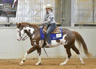 Melanie Dennis riding Gunner Be A Calboy
