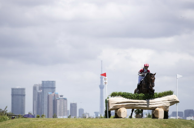 Japan's Kazuma Tomoto and Tacoma Dohorset competing at the Ready Steady Tokyo Equestrian Test Event at Sea Forest Park in Tokyo in August 2019. (FEI/Yusuke Nakanishi)