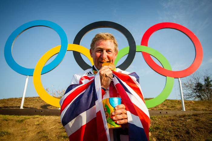 Nick Skelton (GBR) celebrates his gold medal win following a stunning performance at the Deodoro Equestrian Park claiming the Olympic Individual title at the Rio 2016 Games with Big Star.  FEI/Eric Knoll