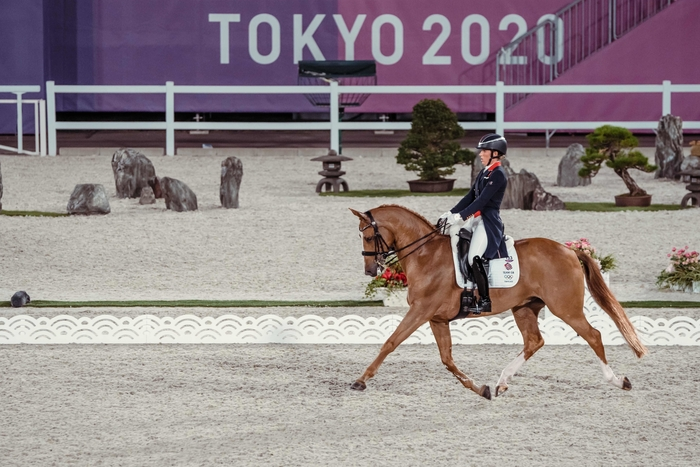 Great Britain's Charlotte Dujardin and Gio produced a fabulous test in the Grand Prix Team and Individual qualifier at the Tokyo 2020 Olympic Games in Baji Koen Equestrian Park today. (FEI/Christophe Taniere)