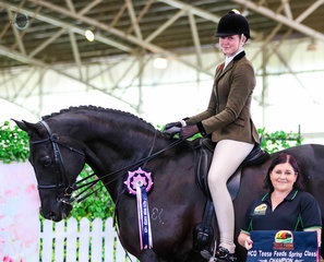Chelsea Taunton having an incredible show aboard her own Elite Rosendahl, taking out Champion Childs Hunter Hack, Champion Home Produced Hunter Hack and third against the adults in their Open Large