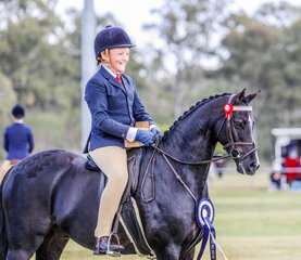 """Sabastian Lucas, aboard his own Mirinda Bold Bow, awarded for his efforts with the Championship in the """"Ellis Family"""" Home Produced Large Show Pony"""