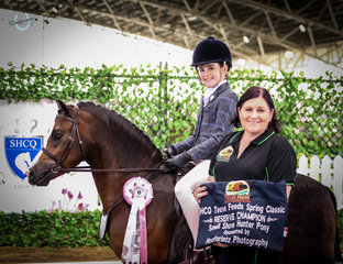 """Woranora Jupiter, owned by Abbey Lovell and ridden here by Isla Grubsia awarded the """"Hoofprintz Photography"""" Reserve Champion Open Small Hunter Pony"""