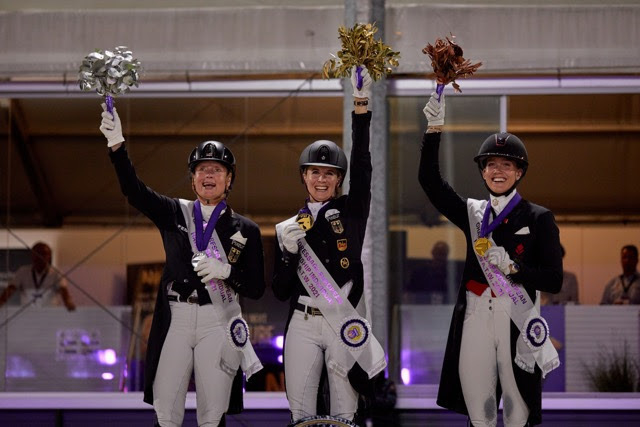 On the podium for the Grand Prix Special at the FEI Dressage European Championship 2021 in Hagen, Germany tonight (L to R): Germany's Isabell Werth (silver), Germany's Jessica von Bredow-Werndl (gold) and Denmark's Cathrine Dufour (bronze). (FEI/Liz Gregg)