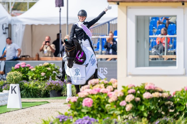 Germany's Semmieke Rothenberger and Flanell celebrating victory in today's Freestyle at the FEI Dressage European Championship U25 in Hagen, Germany. (FEI/Lukasz Kowalski)