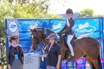 2nd year in a row winning the Childs Small Hunter Hack for Paris Graham and Samantha Watts Extatic GHP