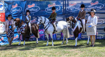 Childs small show hunter pony winners with judges Judy Rankin and Kylie Chandler