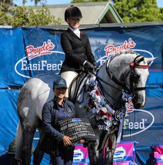 Rolex II Champion Large show hack pictured here with sponsor Mel Waller County Saddles