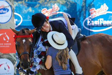 Special moment for Isabella Cross and Clare Fedrick winning the childs small hack with Argle Imprint