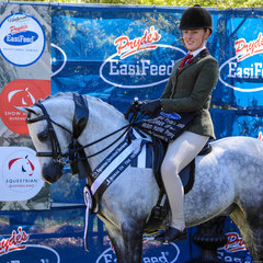Runner up medium hunter pony went to Kaitlin Labahn-Meyland and Bamborough Squire