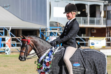 Sandarah Evening Star champion open medium pony ridden by Riley Kent Owned by Sarahs Scotson