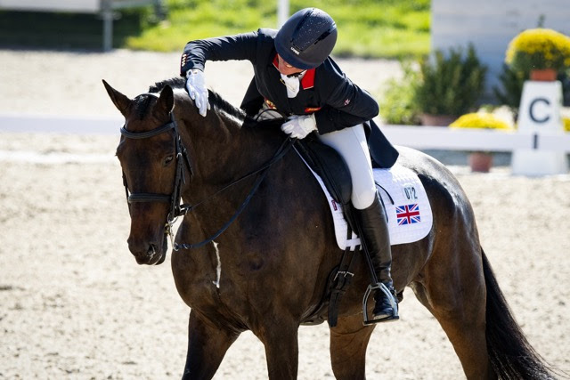 Nicola Wilson and JL Dublin posted the leading score of the day to put Team Great Britain out in front after the first day of Dressage at the FEI Eventing European Championships 2021 in Avenches, Switzerland today. (FEI/Richard Juilliart)