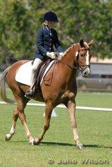 Winner of the Junior Assoc. Preliminary scoring 62%., Taylor Gebert riding Orana Park Royalty.