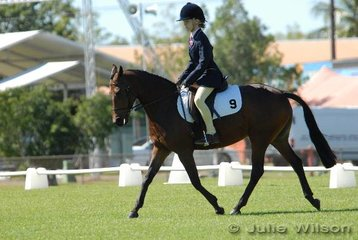 Kathleen Davey rode Morning Side Cheek to Cheek in the Open Assoc. to score 59.1%.