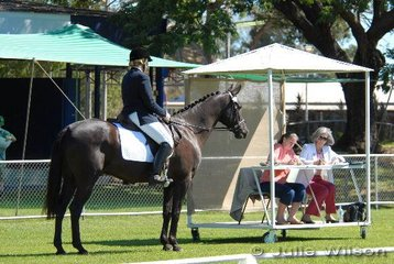 Jane Shaw riding Moolabulla Jazz reports to Interstate judge, Jan Smith and pencillor Paulette Tolley.