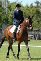 Samantha Charlton rode Stoneage in the dressage at Darwin Royal.