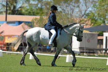 Jessica Harbidge rode her Waler mare, Sandpalm Alice in the Open Assoc. Prelim, to score 53.7%.