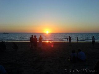 When you come from Melbourne it is hard to believe you are in the same country, sitting on Mindil beach in July watching the sunset into the Arafura sea with the temperature about 28 C.