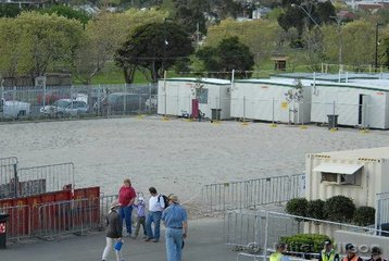 Horse competitors who are attending the show expecting wonderful new warm up arenas will be very disapointed. This photo shows the only work arena on the grounds and it also has to act as a marshalling yard.  This is the best that could be produced after the $106 million redevelopment.